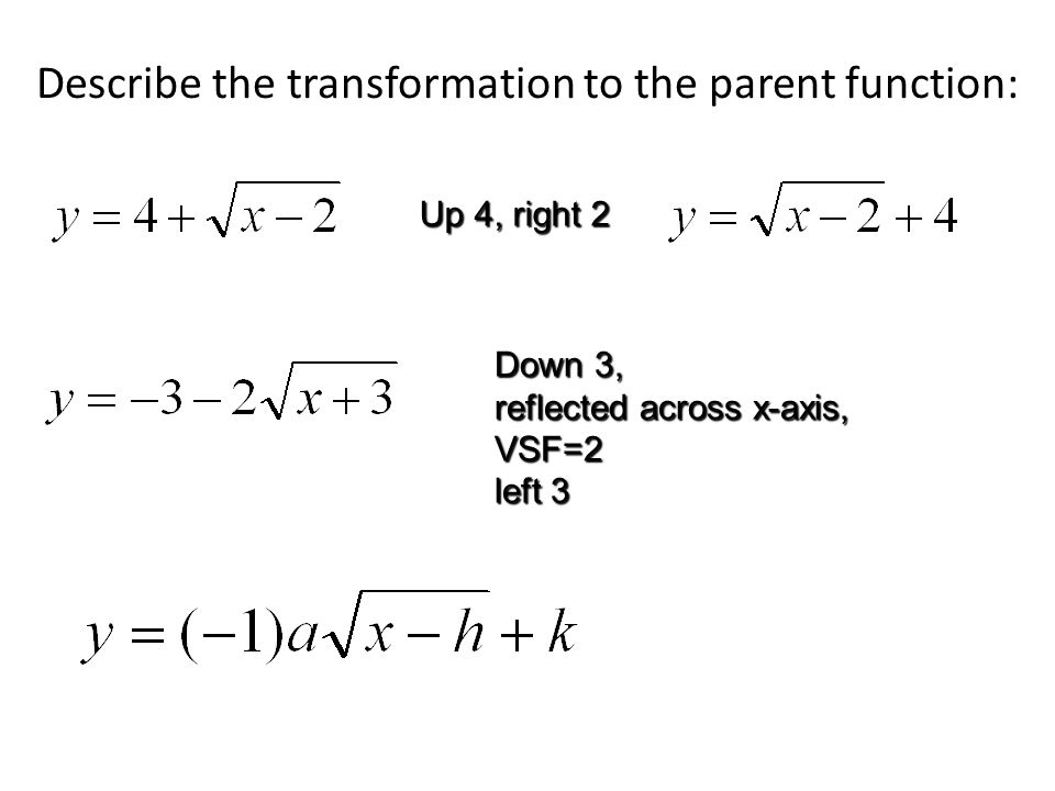 Describe the transformation to the parent function: