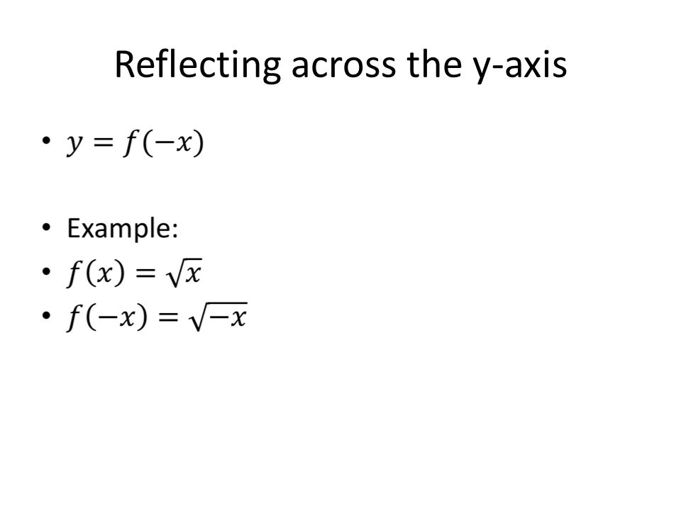 Reflecting across the y-axis