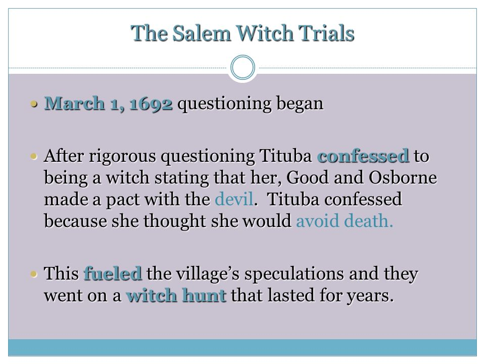 which trials essay Read this miscellaneous essay and over 88,000 other research documents salem witch trials the year is 1692 the place is salem massachusetts home of the famous salem.