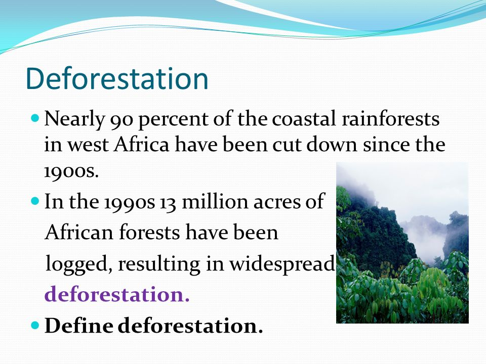 Deforestation Nearly 90 percent of the coastal rainforests in west Africa have been cut down since the 1900s.