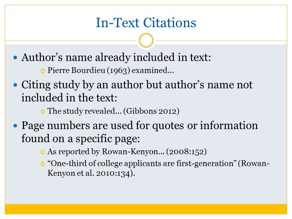 how to show in text citations