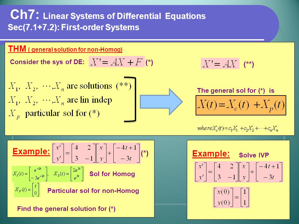 Ch7: Linear Systems of Differential Equations