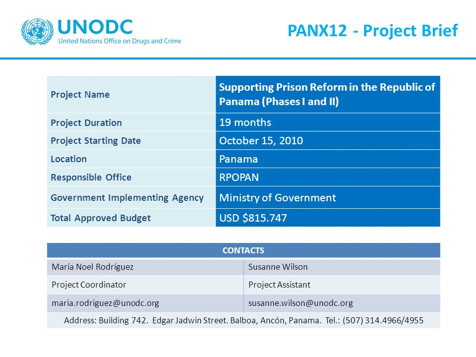 PANX12 - Project Brief Project Name. Supporting Prison Reform in the Republic of Panama (Phases I and II)