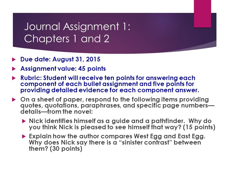 The Great Gatsby Journal Assignments Ppt Video Online Download