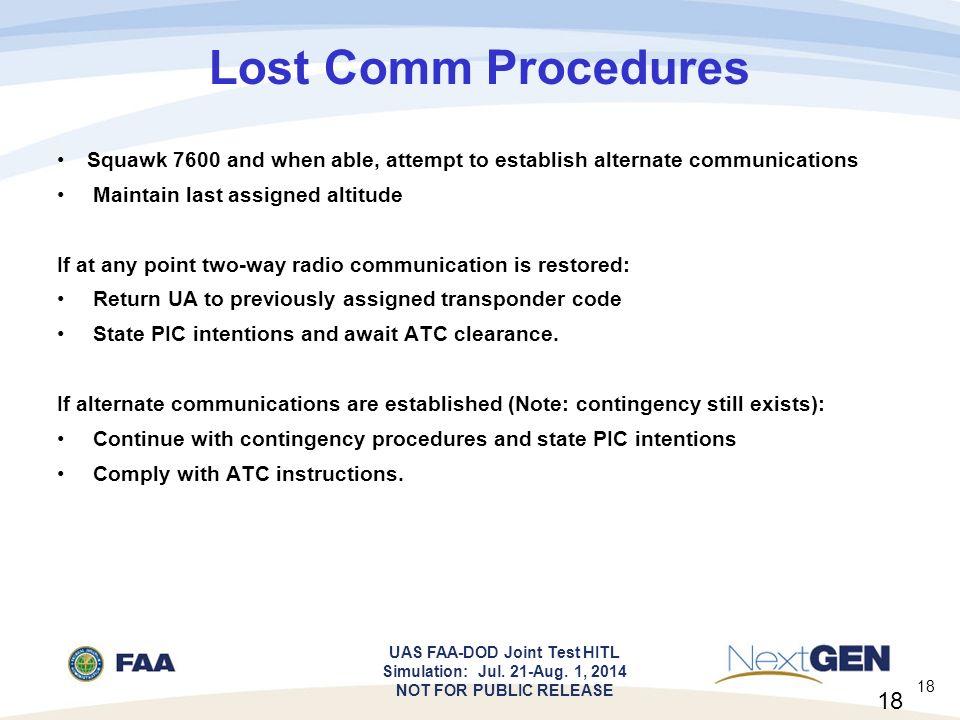 squawk 7600 procedure codes