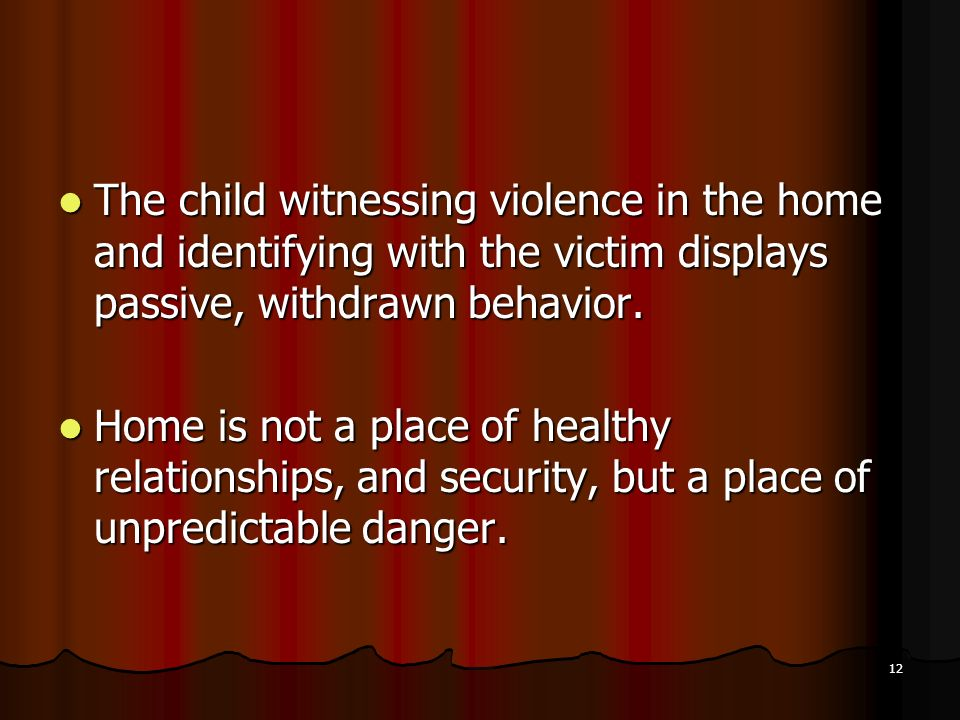 The child witnessing violence in the home and identifying with the victim displays passive, withdrawn behavior.
