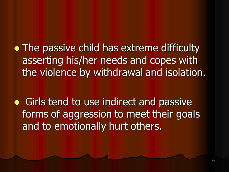 The passive child has extreme difficulty asserting his/her needs and copes with the violence by withdrawal and isolation.