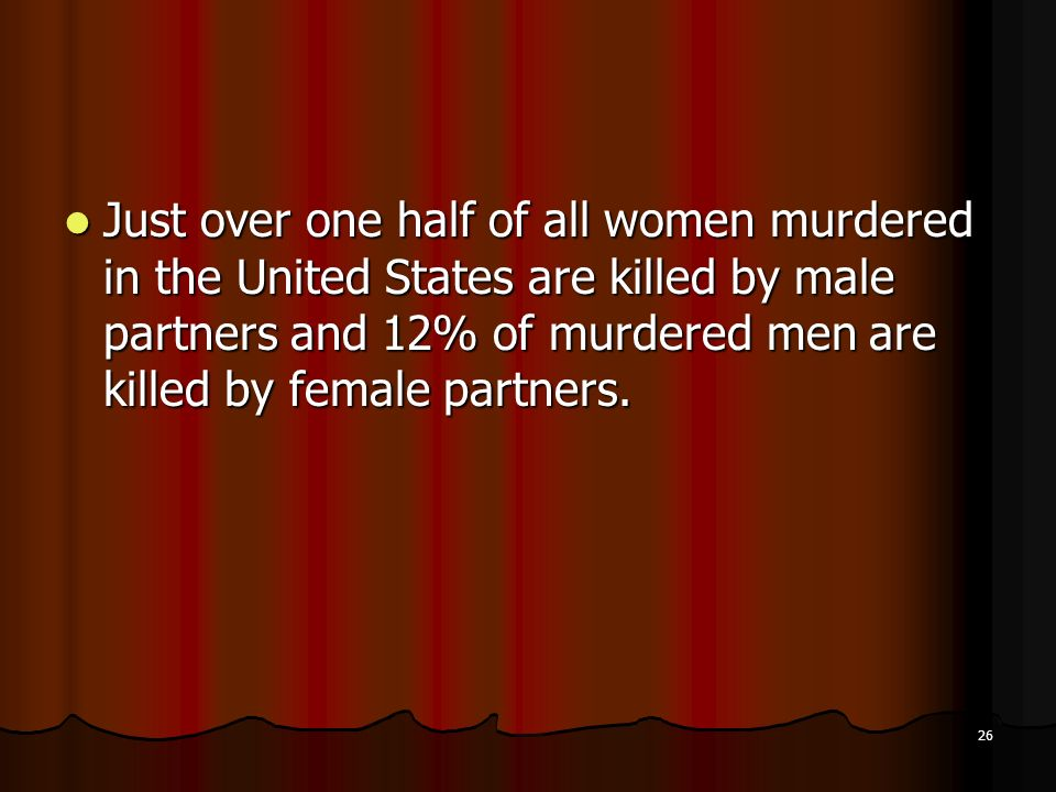 Just over one half of all women murdered in the United States are killed by male partners and 12% of murdered men are killed by female partners.