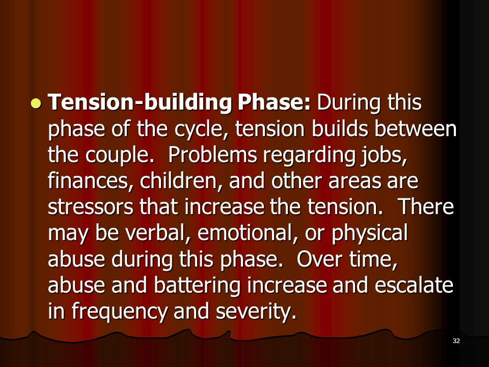 Tension-building Phase: During this phase of the cycle, tension builds between the couple.