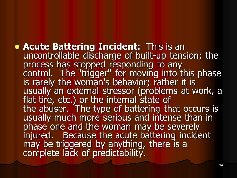 Acute Battering Incident: This is an uncontrollable discharge of built-up tension; the process has stopped responding to any control.