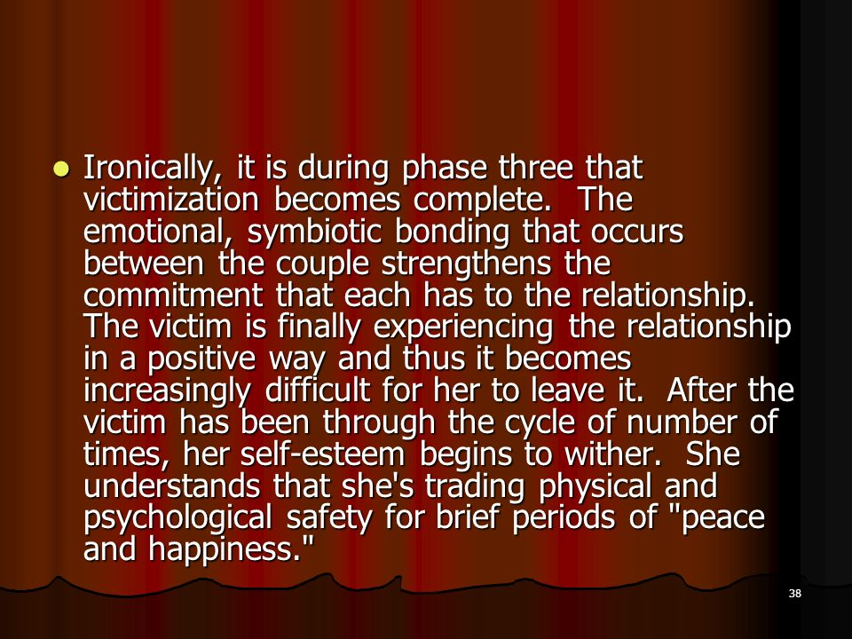 Ironically, it is during phase three that victimization becomes complete.