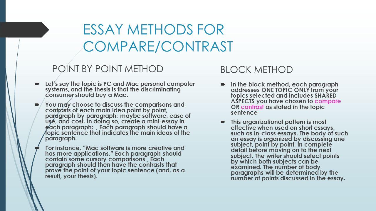 compare and contrast essay block method outline | mistyhamel