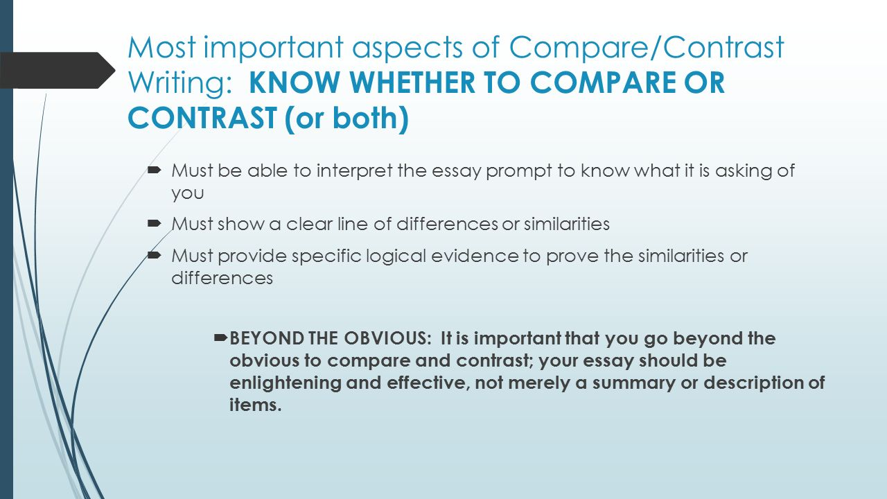 comparison contrast essay writing ppt The comparison/contrast essay discusses the likenesses & differencesinformational and explanatory writing: writing a compare and contrast compare-contrast essay thesis & topic sentence examples - authorstream presentation powerpoint presentation: or include a.