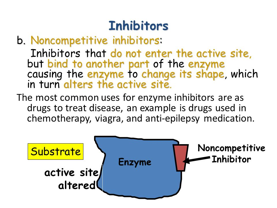 Inhibitors b. Noncompetitive inhibitors: