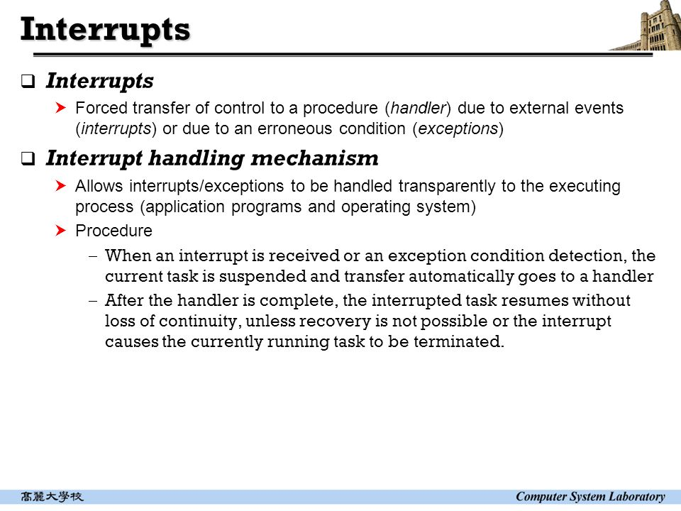 Computer System Architecture Interrupt And Precise Exception Ppt Video Online Download