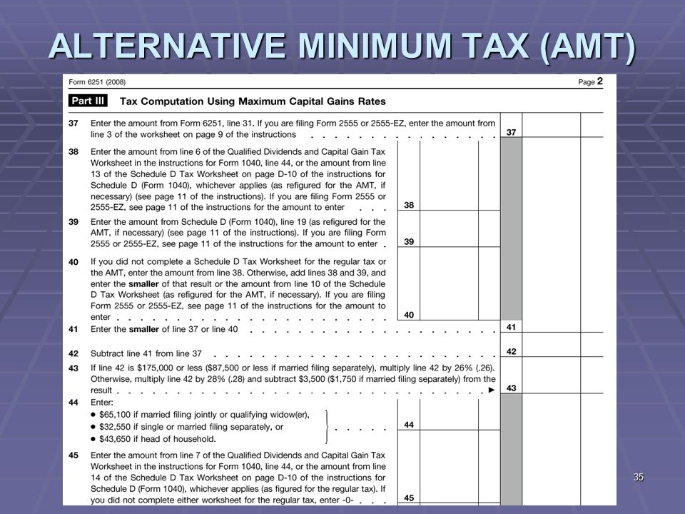 memo alternative minimum tax 2 The alternative minimum tax was designed as a parallel tax system to the federal income tax and checks it to ensure that that the people in higher tax bracket don't evade paying any taxes through.