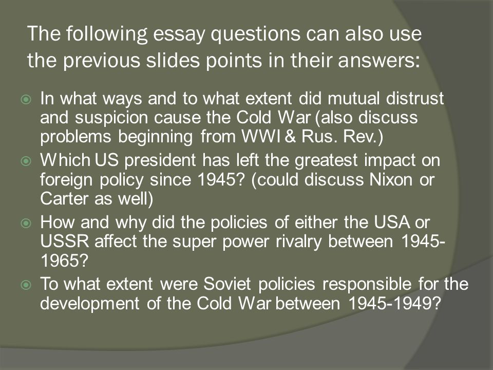 Review Of Paper   Questions  Ppt Download The Following Essay Questions Can Also Use The Previous Slides Points In  Their Answers
