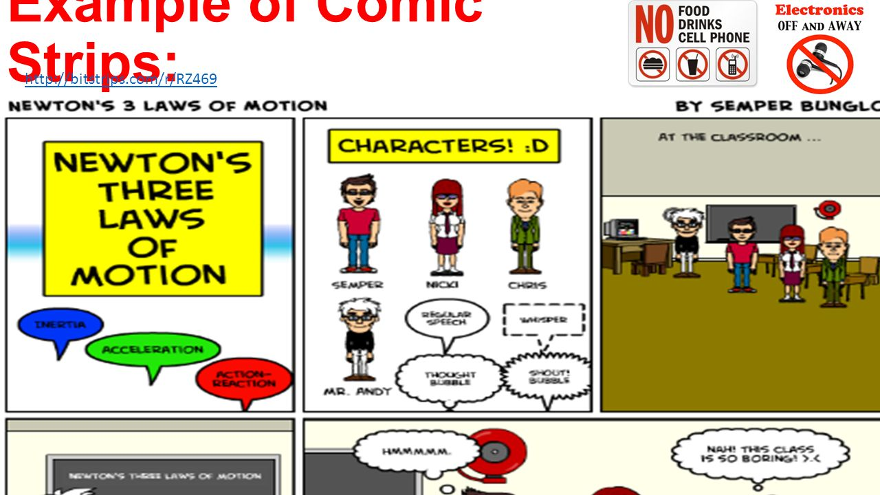motion comic strips laws of Newtons
