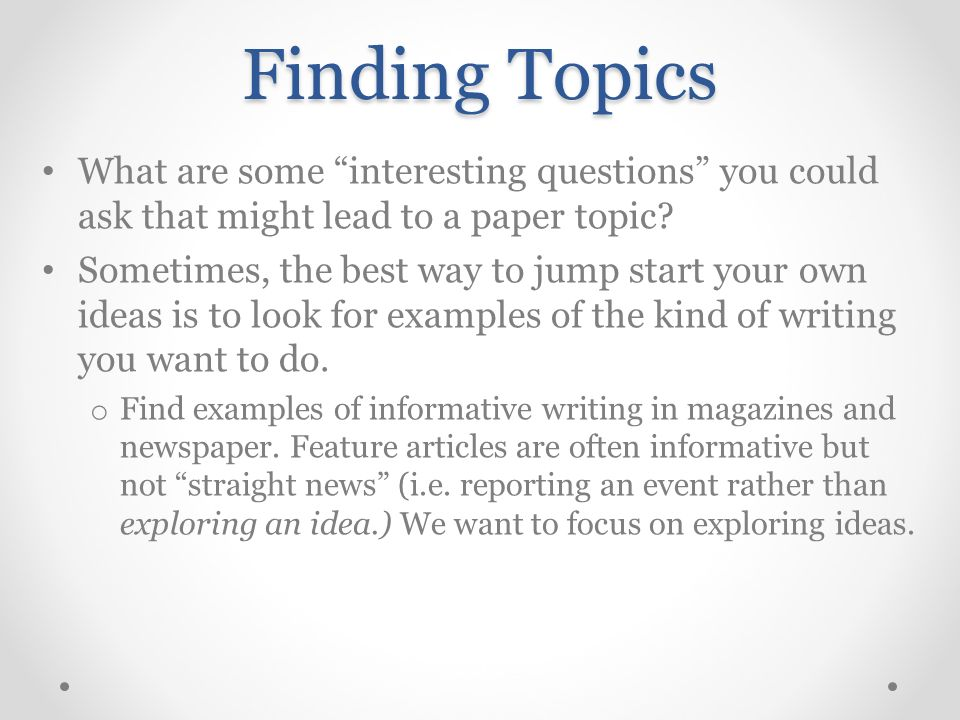 informative topic ideas