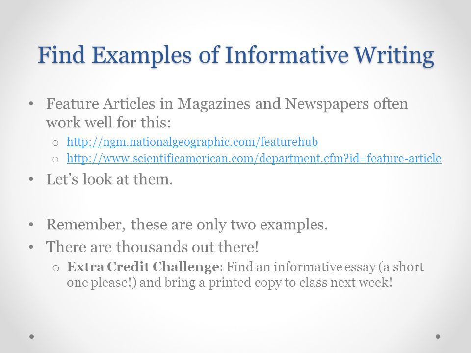 How to write an informative article example.
