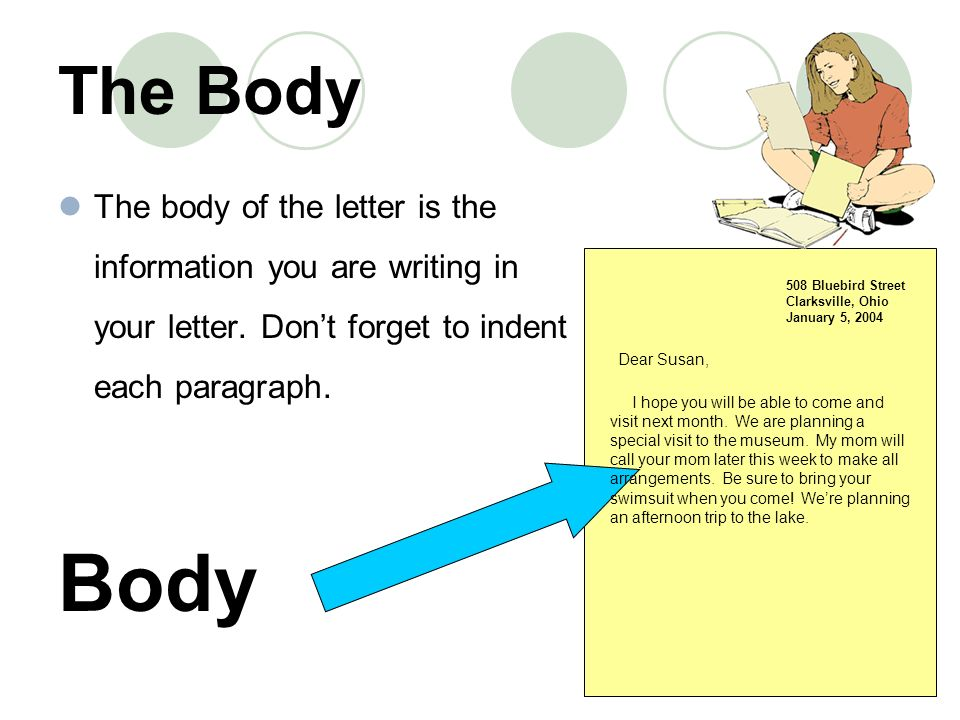 the body the body of the letter is the information you are writing in your letter