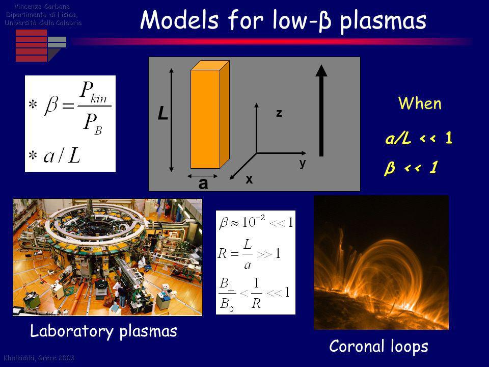 Models for low-β plasmas