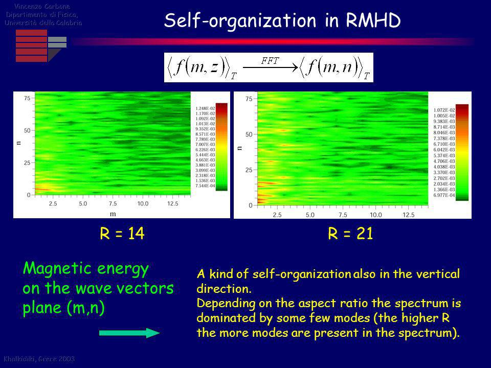 Self-organization in RMHD