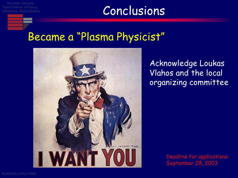 Conclusions Became a Plasma Physicist Acknowledge Loukas