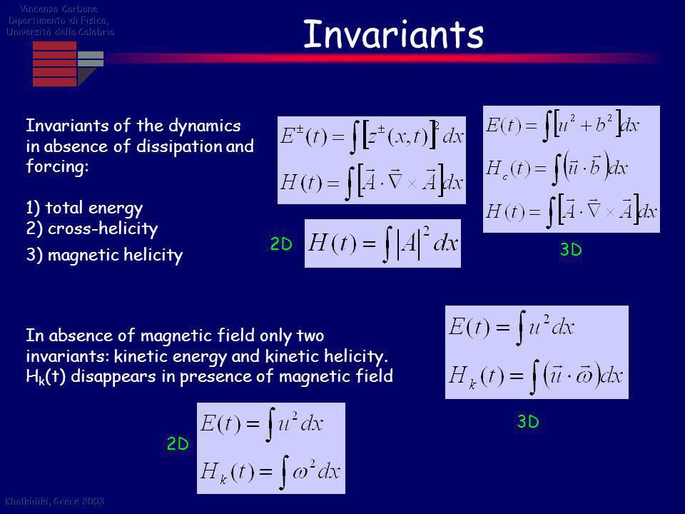 Invariants Invariants of the dynamics in absence of dissipation and