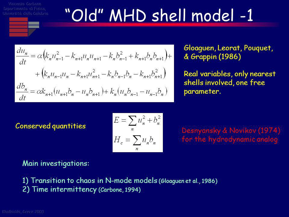 Old MHD shell model -1 Gloaguen, Leorat, Pouquet, & Grappin (1986)