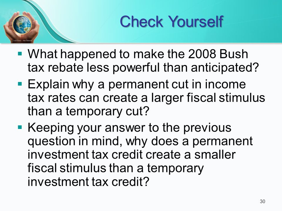 Check Yourself What Happened To Make The 2008 Bush Tax Rebate Less Powerful Than Anticipated