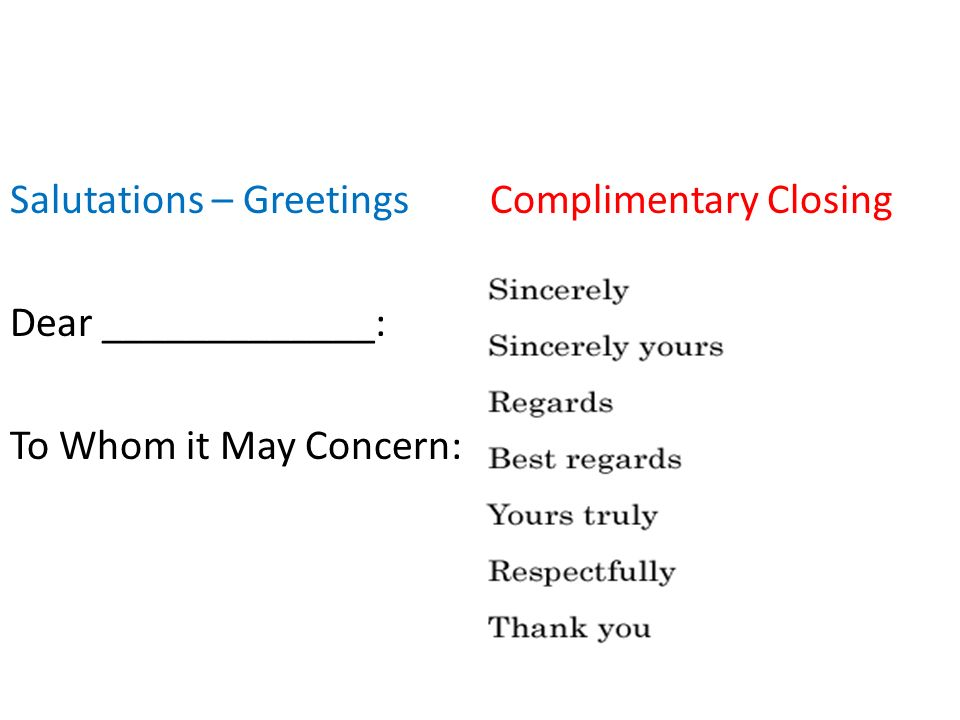 Mla business letter format ppt video online download 3 salutations greetings complimentary closing dear to whom it may concern spiritdancerdesigns Image collections