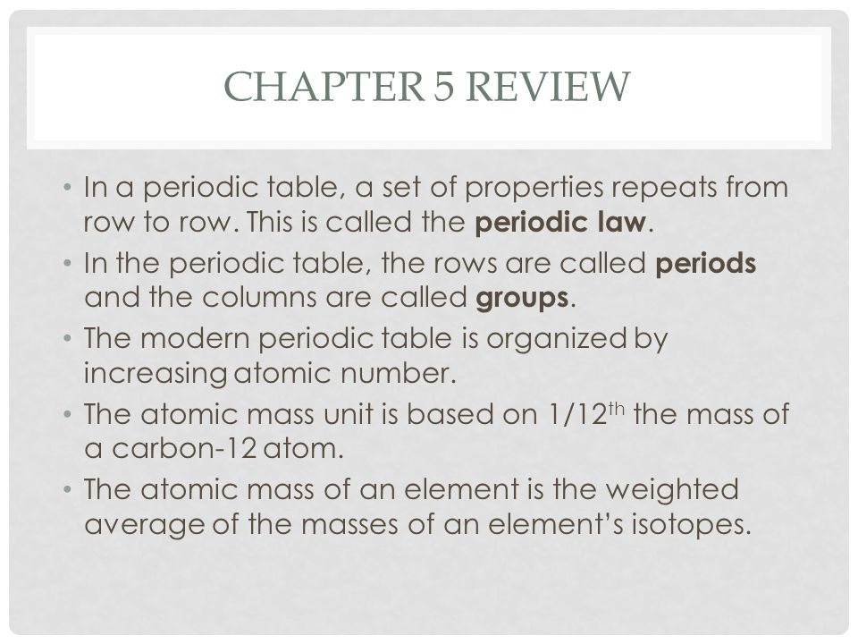 Chapter 5 Review The Periodic Table Ppt Video Online Download