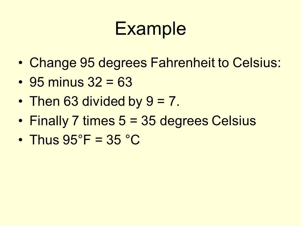Example Change 95 Degrees Fahrenheit To Celsius Minus 32 63