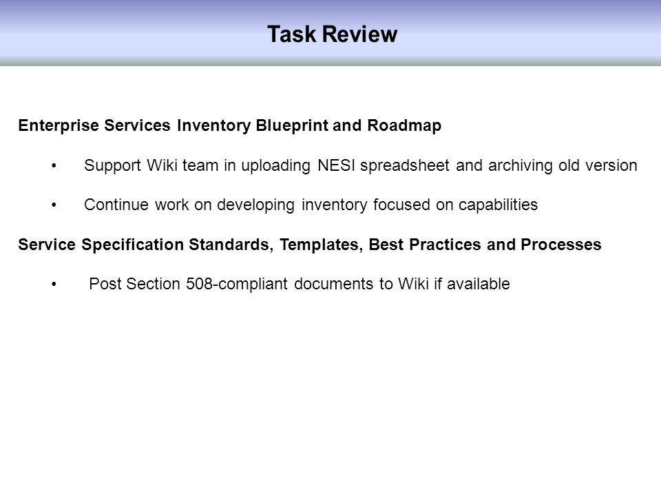Essrt status report as of july 31 ppt download task review enterprise services inventory blueprint and roadmap malvernweather Images