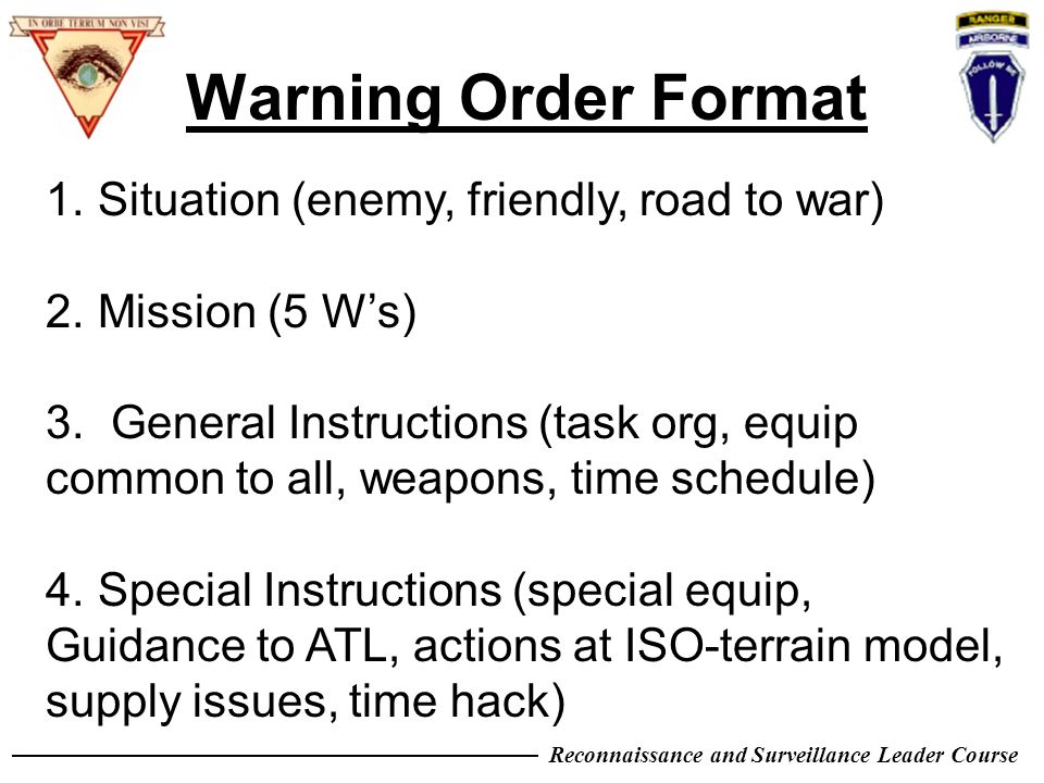 Warning Order Format Situation Enemy Friendly Road To War