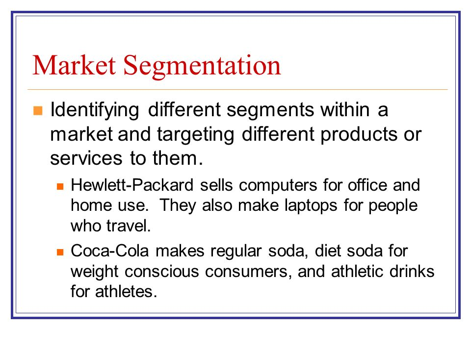 market segmentation of hp