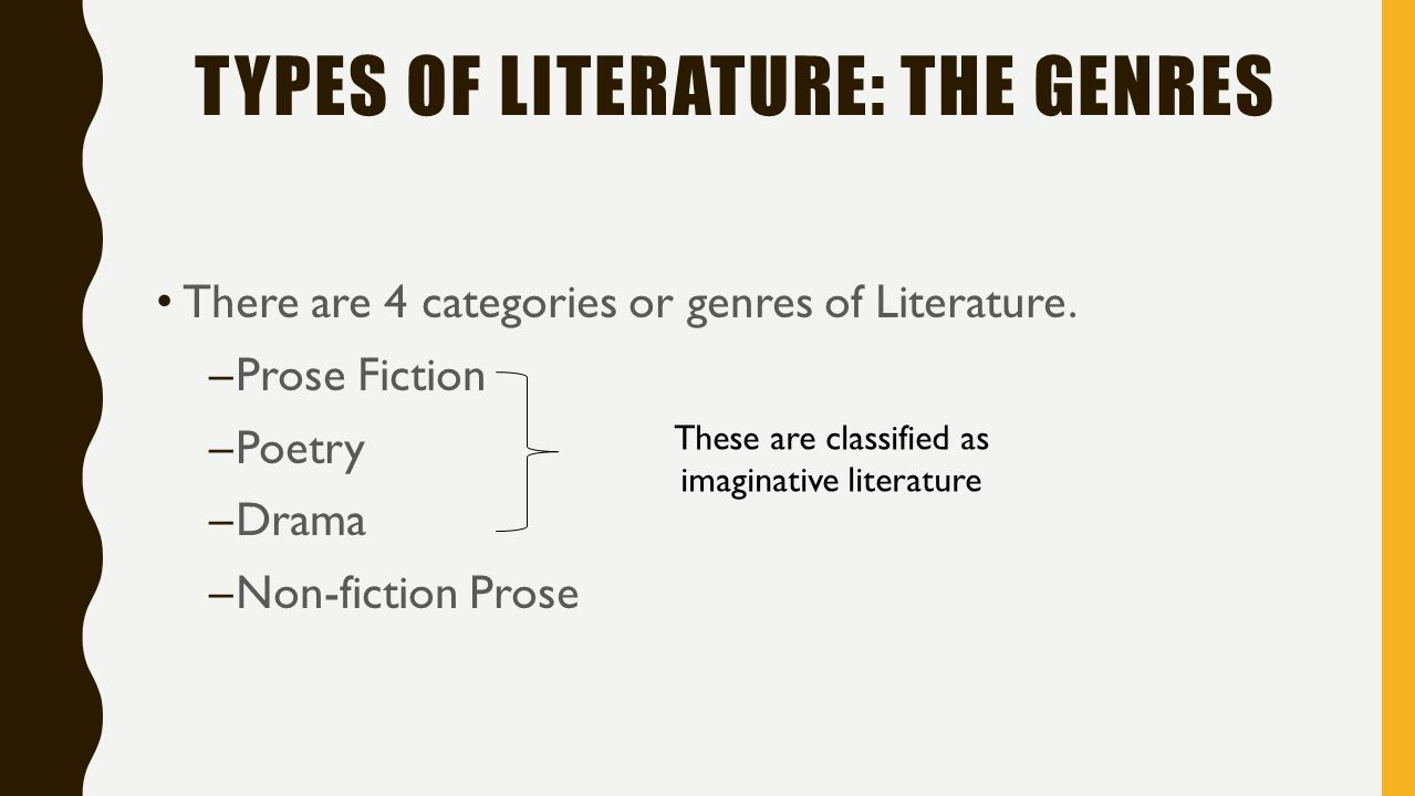 genres of literature 4 essay Class on genres in literature print reference this  disclaimer: this work has been submitted by a student this is not an example of the work written by our professional academic writers  essay – a short literary composition that reflects the author's outlook or point.