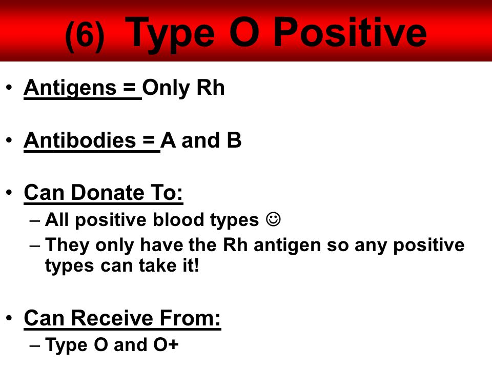 6 Type O Positive Antigens Only Rh Antibodies A And B