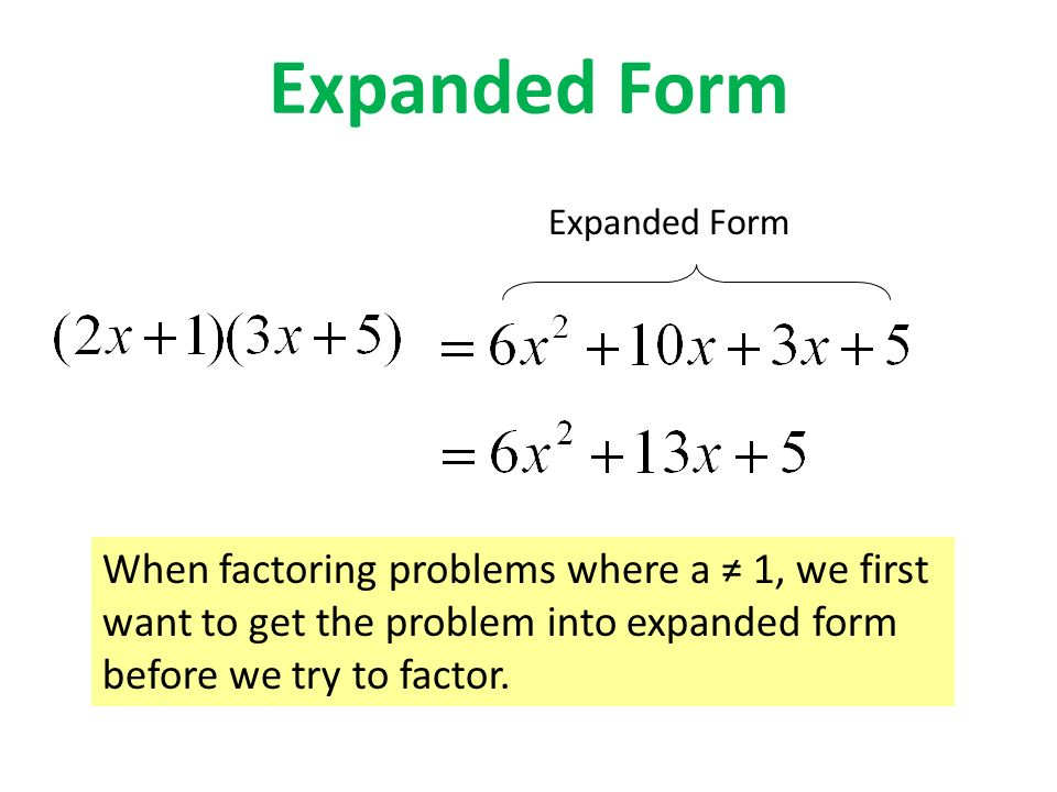 expanded form vs factored form  Topic 11: Polynomials. - ppt video online download