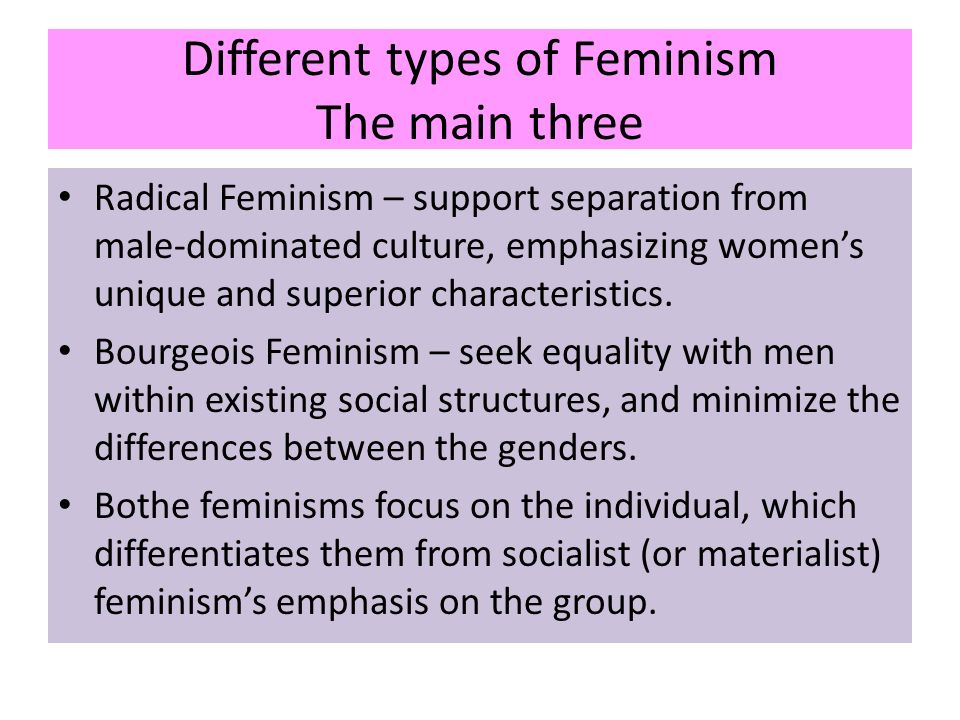 the different types of feminism Third world feminism: a new wave of feminism driven by women in third world countries that emphasizes the importance of diversity in women's experiences and rejects the concept of a universal women's experience because of different cultural beliefs and customs.