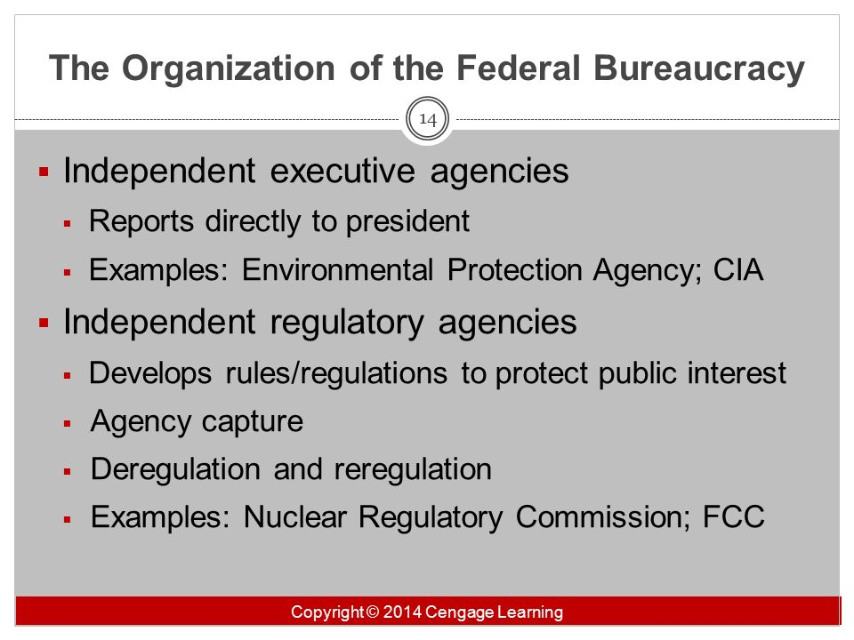 the federal bureaucracy chapter 13 exam Details title chapter 13-the fed bureaucracy description federal statute barring federal employees from active participation in certain kinds of politics and protecting them from being fired on partisan grounds.