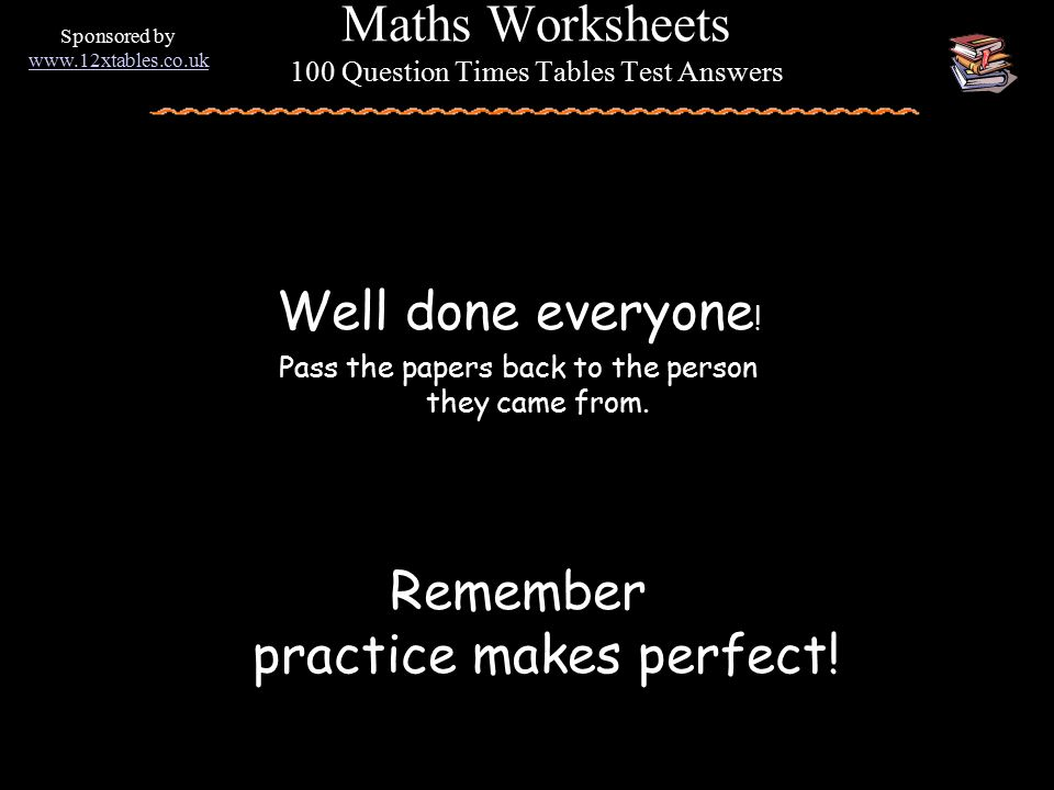 Maths Worksheets 100 Question Times Tables Test - ppt video online ...