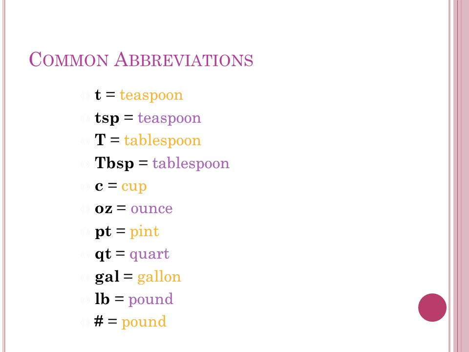 Common Abbreviations T Teaspoon Tsp Tablespoon