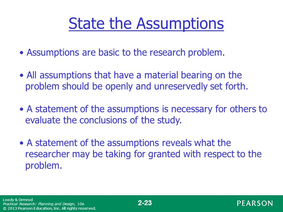 basic assumptions of research