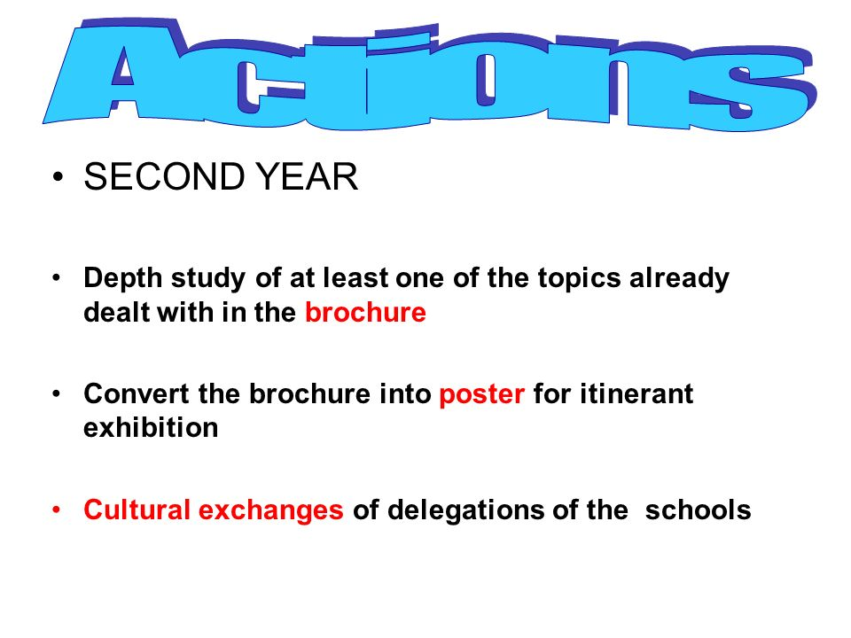 Actions SECOND YEAR. Depth study of at least one of the topics already dealt with in the brochure.