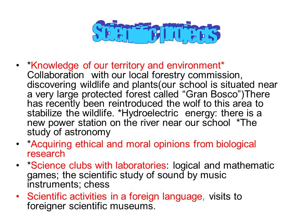 Scientific projects