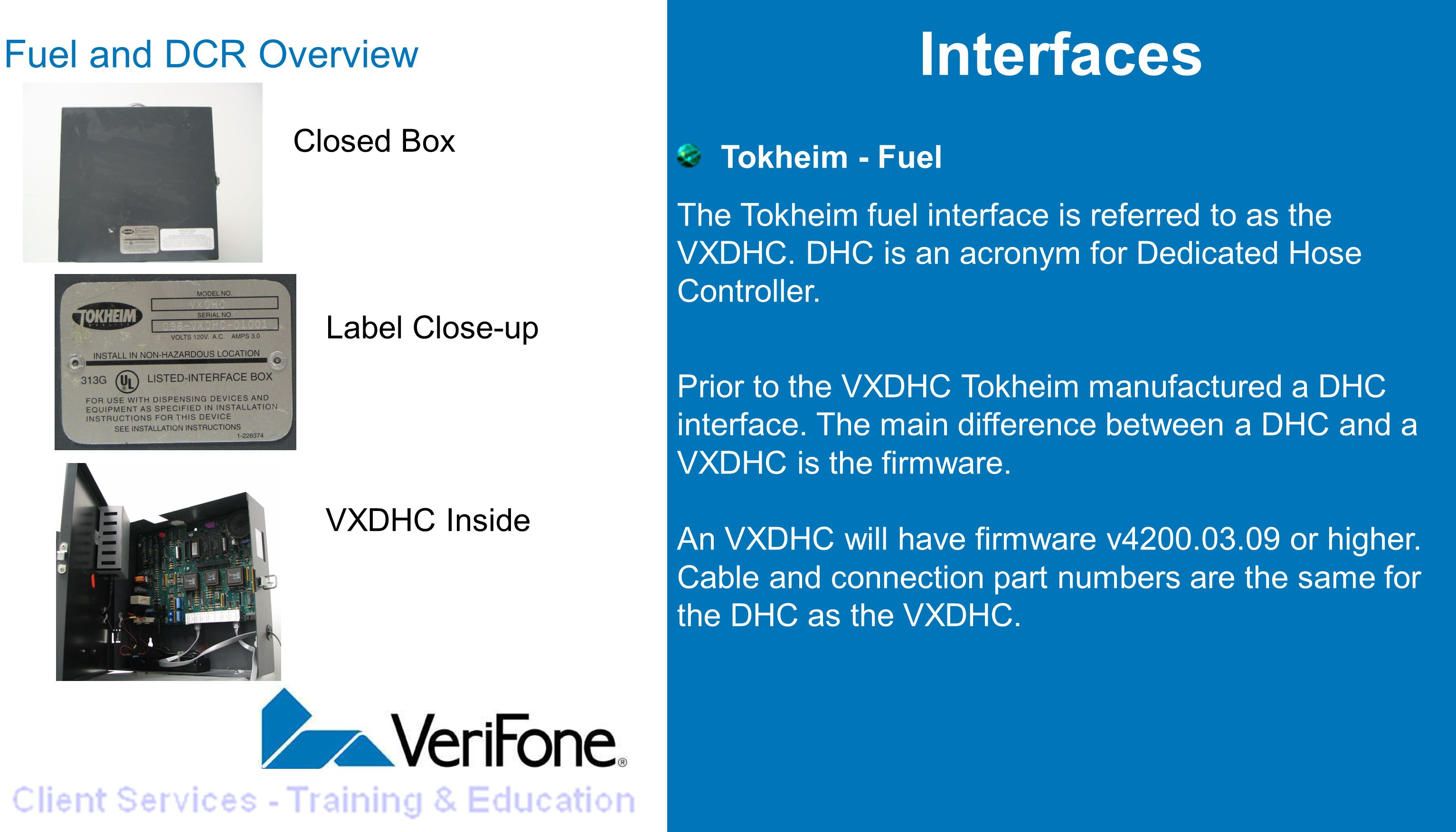 Interfaces Fuel and DCR Overview Tokheim - Fuel Closed Box