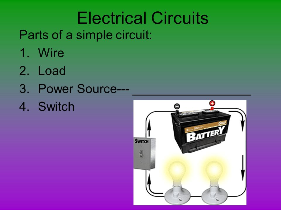 Electrical Circuits Parts of a simple circuit: Wire Load - ppt download
