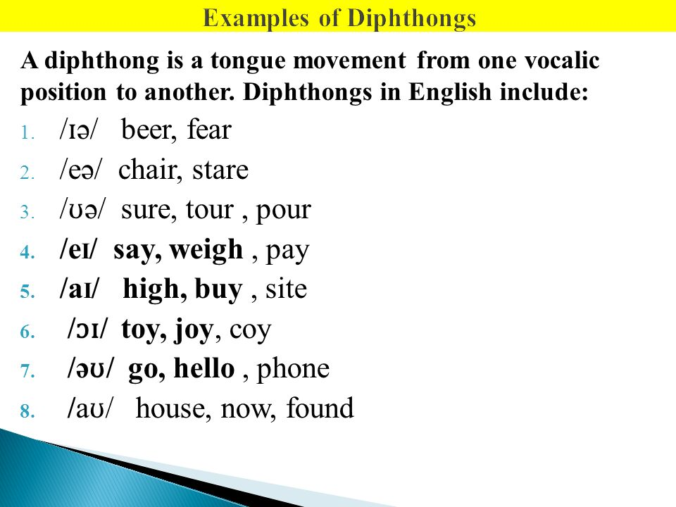 Diphthongs: english pronunciation: english: pronunciation.
